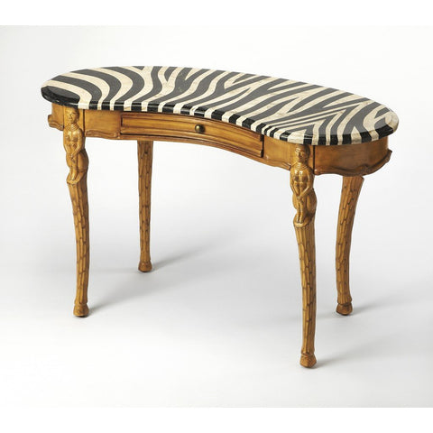 Zebra Pattern and Stone Veneer Writing Desk