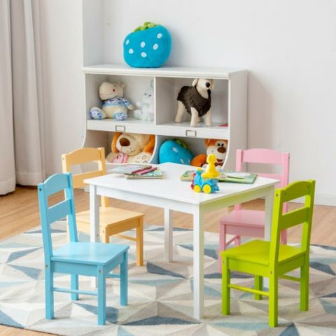 Costway 5 pcs Kids Pine Wood Table Chair Set in Clear, Multicolor & Natural