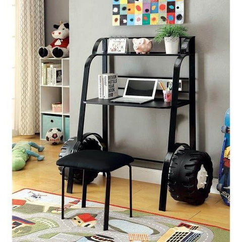 Image of Black Tank Kids Desk & Stool Set in Black or White