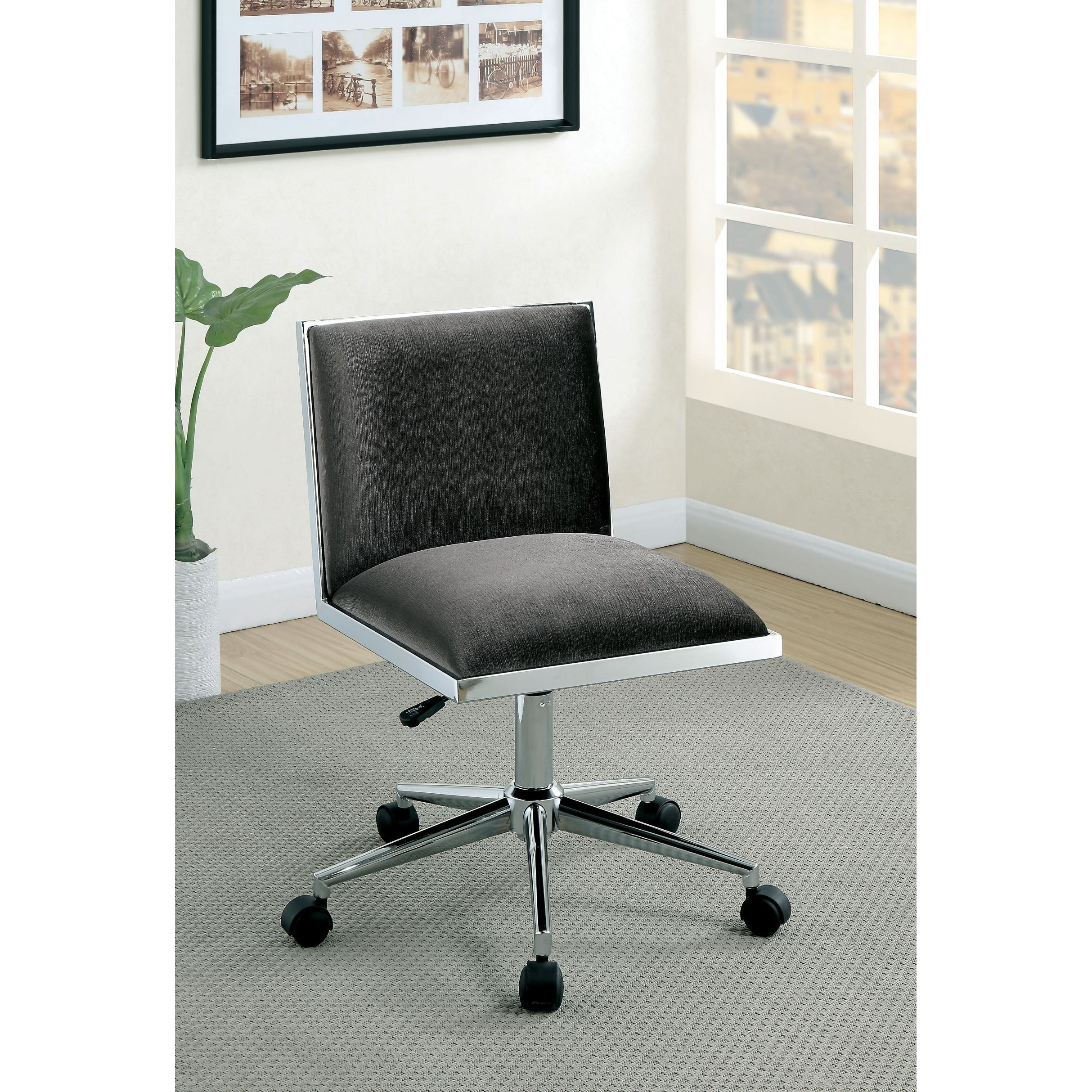 Furniture of America Contemporary Chromed Adjustable Office Chair In Gray