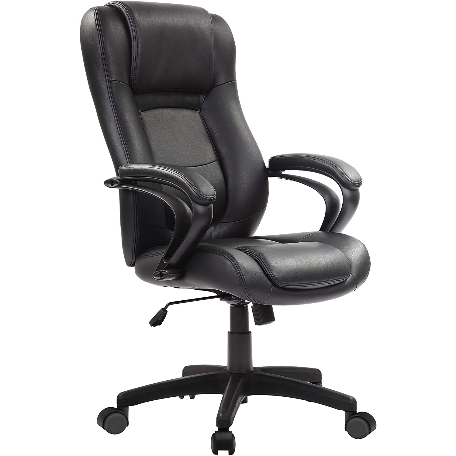 "Blenceo Black Leather Office Chair 26.37""x 27.55""x 44.8"""