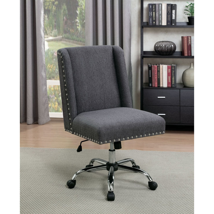 Vallon Contemporary Style Gray Wingback Fabric Office Chair