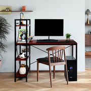 "47.5"" Writing Study Computer Desk with 4-Tier Shelves-Coffee"