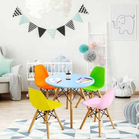 Image of 5 Piece Kids Colorful Table Set with 4 Armless Chairs