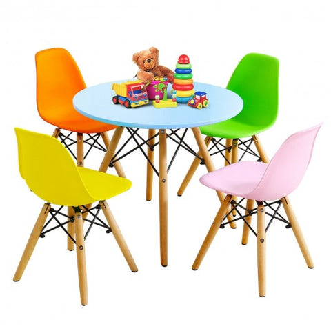 Image of 5 Piece Kids Colorful Set with 4 Armless Chairs