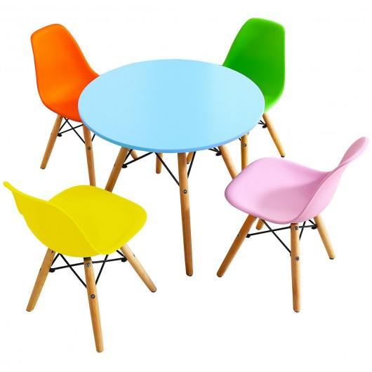5 Piece Kids Colorful Table Set with 4 Armless Chairs