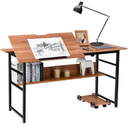 "Costway 55"" Tiltable Drafting Drawing Table in Walnut"