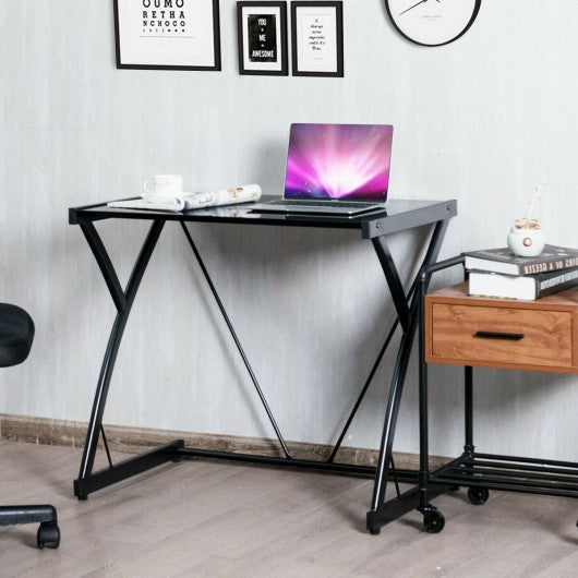 Glass Top Computer Desk Writing Study Workstation