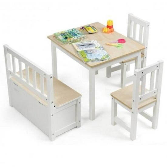 4 PCS Kids Wooden Table with Chairs Set