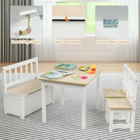 4 Piece  Kids Wooden Table in Natural Color