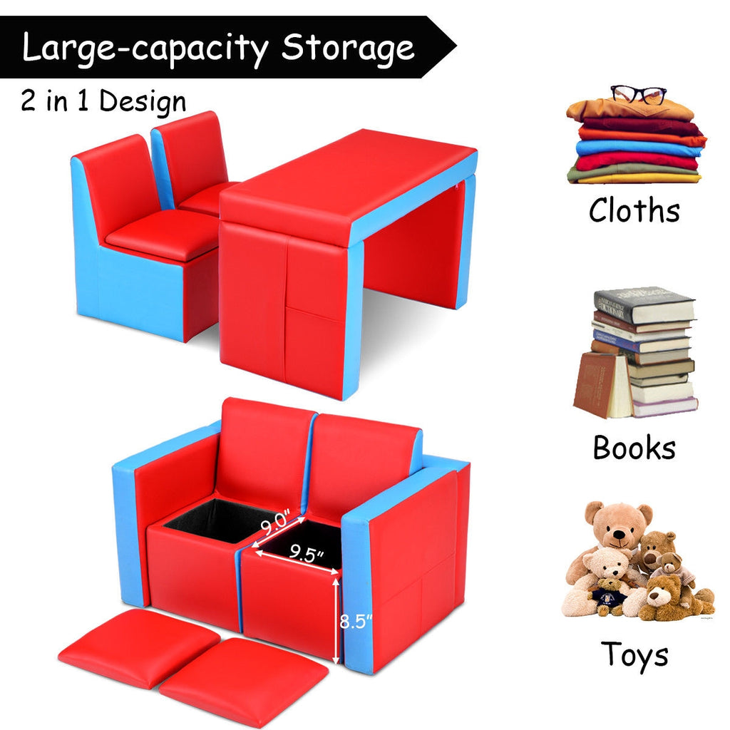 Multi-functional Kids Sofa Table Chair Set