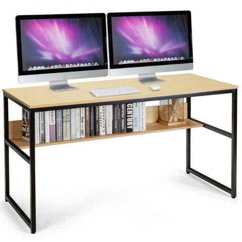 "55"" Writing Table Computer Workstation with Bookshelf"