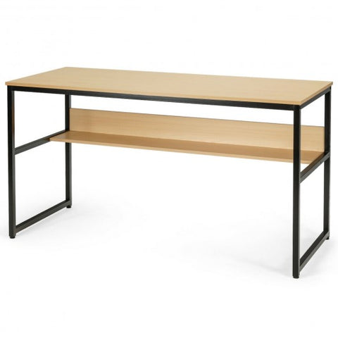 "Image of 55"" Writing Table Computer Workstation with Bookshelf"