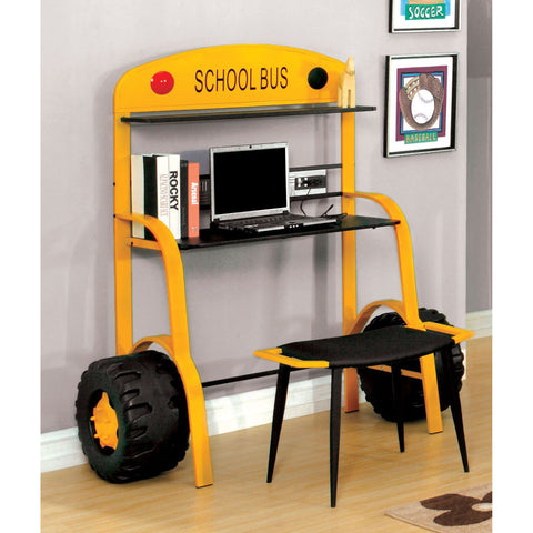 Image of Tonk School Bus Inspired Metal Kids Desk in Yellow