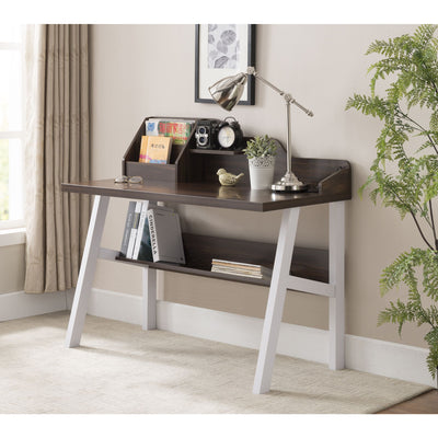 Contemporary Style Two-Tone Walnut and White Writing Desk