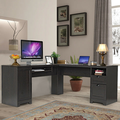 Image of L- Shaped Writing Study Workstation Desk