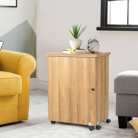 Image of Costway Folding Sewing Craft Table Storage Cabinet