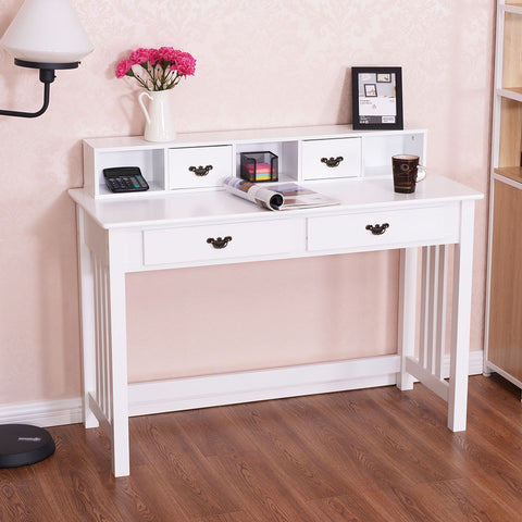 Image of Costway Home Office Writing Mission Computer Desk with 4-Drawer