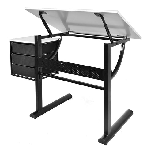 Costway Adjustable Drafting Art Table & Craft Drawing Desk w/Stool