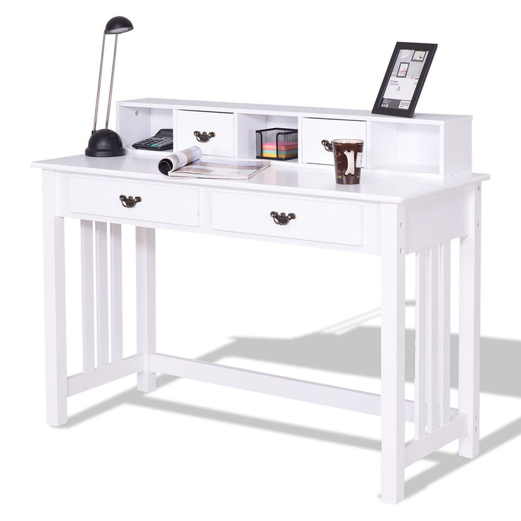 Costway Home Office Writing Mission Computer Desk with 4-Drawer