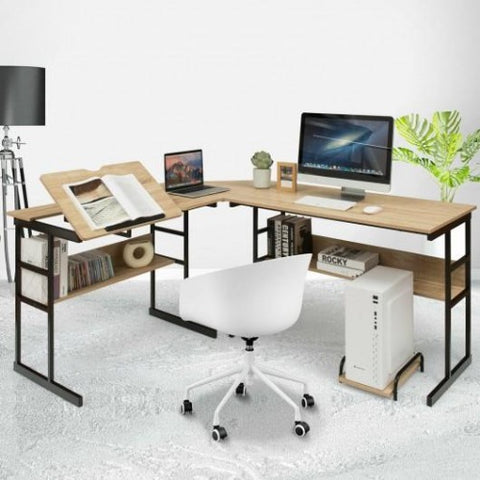 Image of L-Shaped Drawing Computer Desk with Tiltable Tabletop