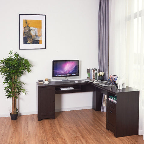 Image of L-Shaped Writing Workstation Computer Desk
