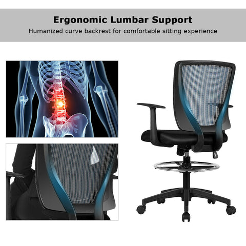 Black Mesh Footrest Ring Drafting Office Chair