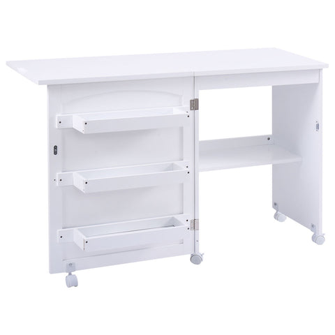 Costway Folding Sewing Craft Table Storage Cabinet
