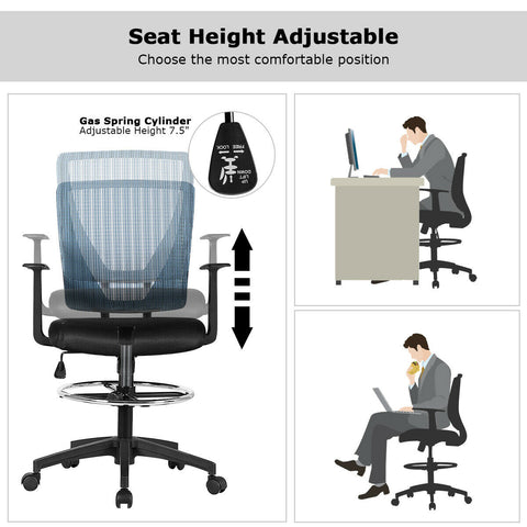 Image of Black Mesh Footrest Ring Drafting Office Chair