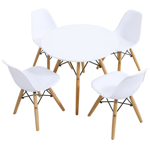5 Piece Kids Mid-Century Modern Table Chairs Set