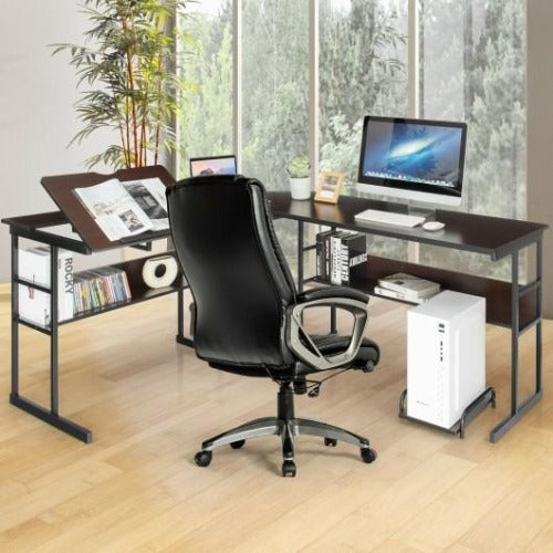 L-Shaped Drawing Computer Desk with Tiltable Tabletop