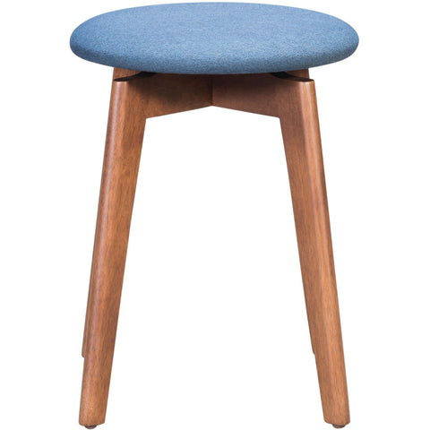 "Walnut And Ink Blue Rubberwood Stool Set Of 2  14.4"" X 14.4"" X 19.3"""