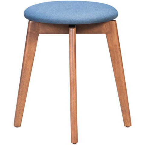 "Image of Walnut And Ink Blue Rubberwood Stool Set Of 2  14.4"" X 14.4"" X 19.3"""