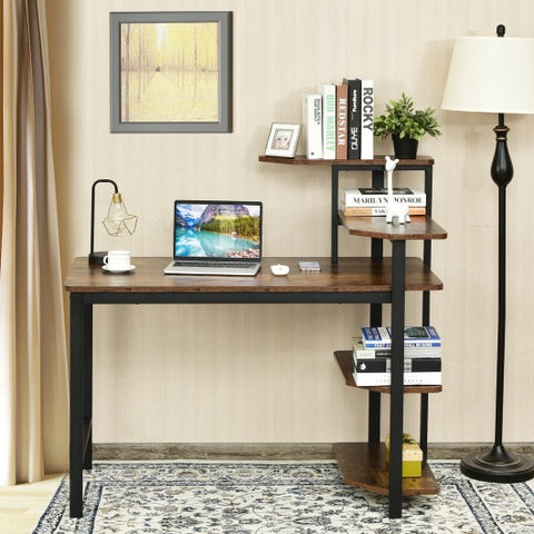 Image of Rustic Brown Home Office Writing Desk with Storage Shelves