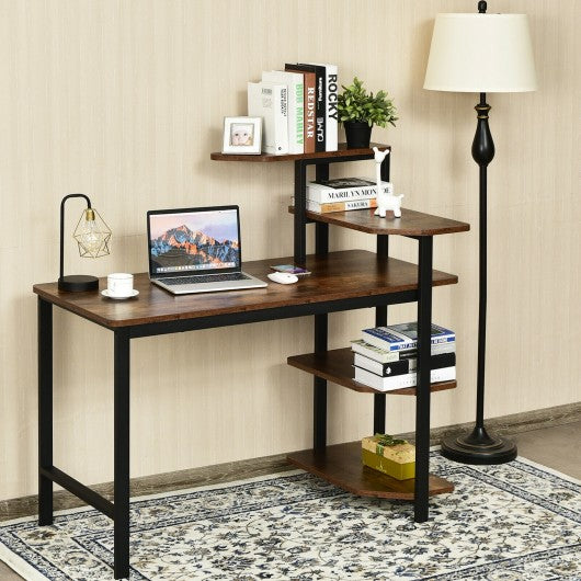 Rustic Brown Home Office Writing Desk with Storage Shelves
