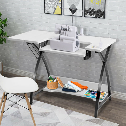 Image of Sewing Craft Table Computer Desk with Adjustable Platform