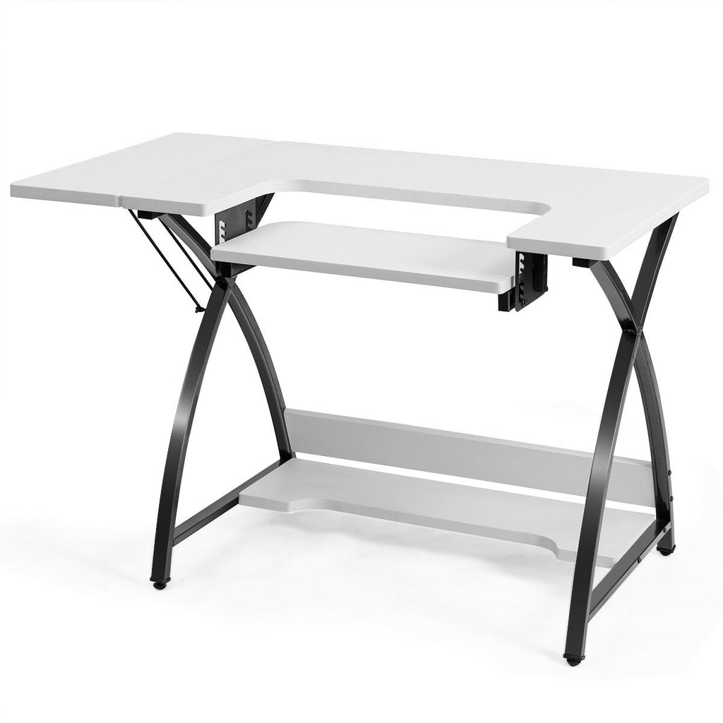 Sewing Craft Table Computer Desk with Adjustable Platform