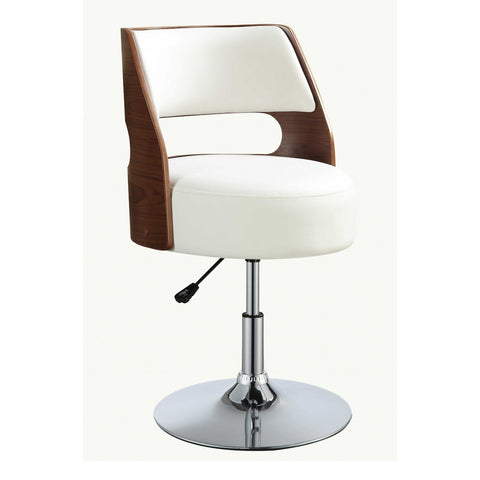 "White And Walnut Swivel Adjustable Stool  20"" X 20"" X 31"""