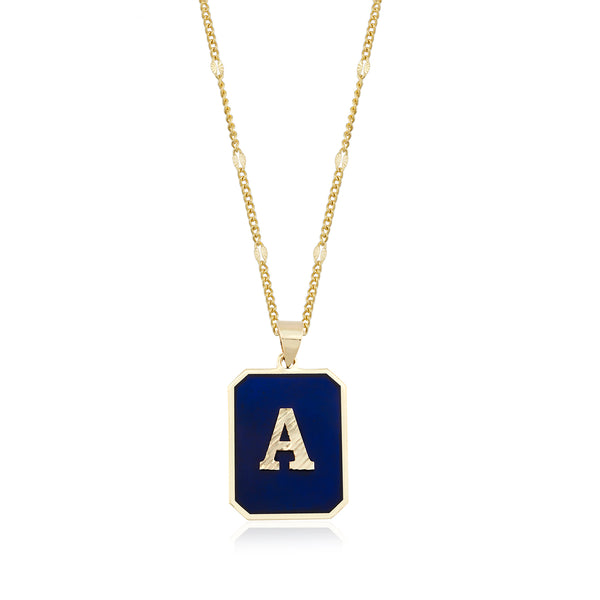 Initial Navy Necklace
