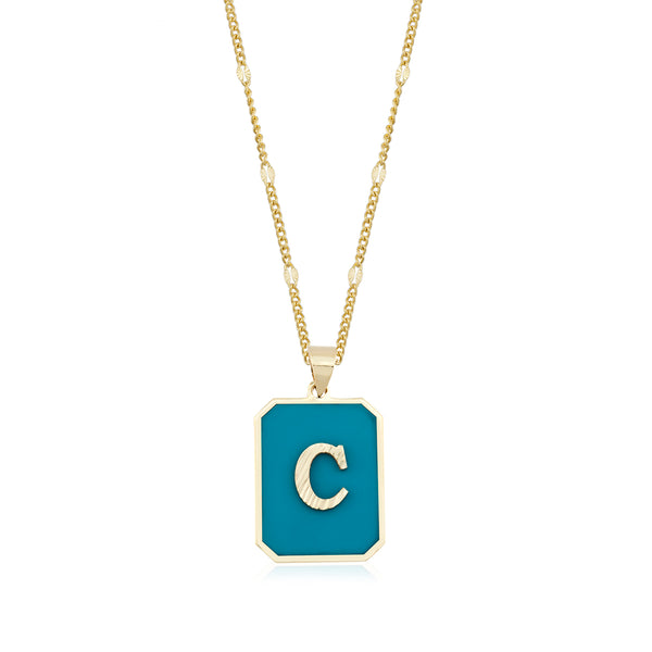 Initial Turquoise Necklace