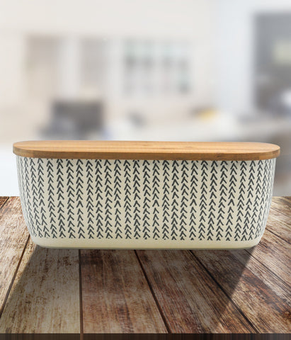 Printed Bamboo Fibre Bread Bin With Bamboo Lid