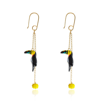 Spiral flying Tucan Earring