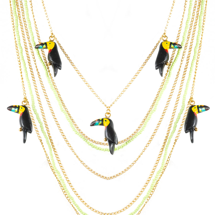 Toucans waterfall necklace