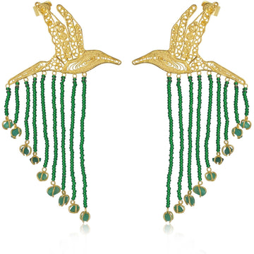 YUMAJAI Earrings Colibri Esmeralda