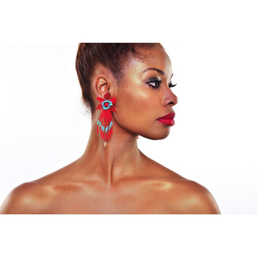 YUMAJAI Earrings Kueba Ve Kea Ebarishi-The Red Dew