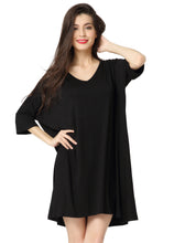 Aibrou Women's Half Sleeves Long Tunic Top Casual Comfy Loose Fit Modal T-Shirt Dress Sleepwear