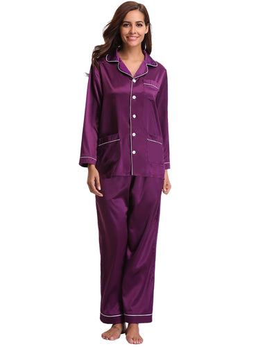 Women's Satin Pajamas Set Long Sleeve and Long Button-Down Sleepwear Loungewear