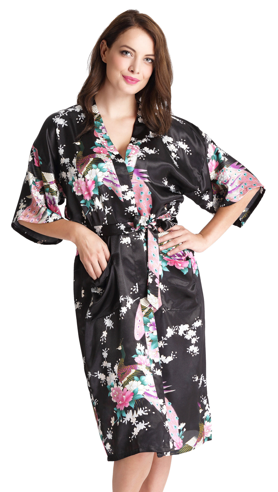 Aibrou Women's Robes Peacock and Blossoms Kimono Satin Nightwear Long Style