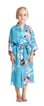 Aibrou Girls' Peacock Satin Kimono Robe Bathrobe Nightgown For Party Wedding