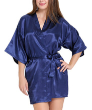 Aibrou Women/'s Kimono Robes Satin Pure Colour Short style with Oblique V-Neck, Black, Large